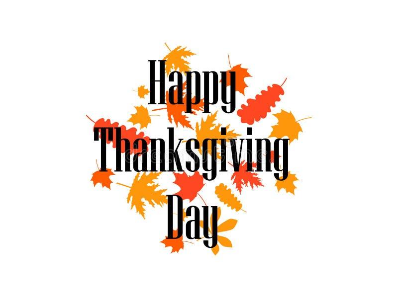 szczęśliwy dzień dziękczynienie Yellowed jesień liście na białym tle Inskrypcja w przedpolu wektor royalty ilustracja