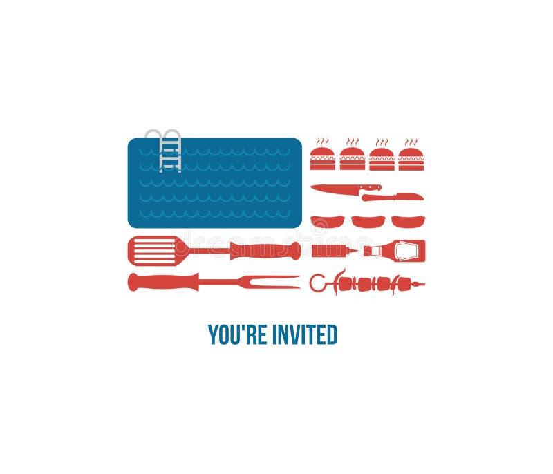 SZCZĘŚLIWY dzień niepodległości Ameryka, zaproszenie dla ilustracja wektor