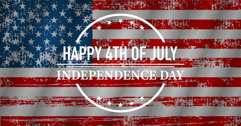 Szczęśliwy dzień niepodległości, chorągwiani usa, wektorowa ilustracja zdjęcie stock