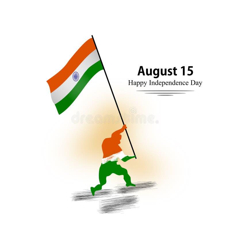Szczęśliwy dzień niepodległości India 2007 pozdrowienia karty szczęśliwych nowego roku Wektor i ilustracja ilustracji
