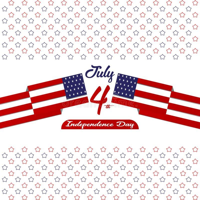 Szczęśliwy dzień niepodległości Stany Zjednoczone Ameryka, 4th Lipiec karta z gwiazdą, Chorągwiany płaski projekt royalty ilustracja