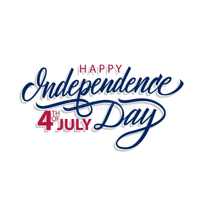 Szczęśliwy dzień niepodległości, 4th Lipa literowania kaligraficzny projekt świętują karcianego szablon ilustracji