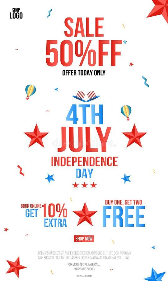 Szczęśliwy dzień niepodległości 4th Lipa plakat, 4th Lipa usa dnia niepodległości oferty sprzedaży promocji tła Kreatywnie zapros royalty ilustracja