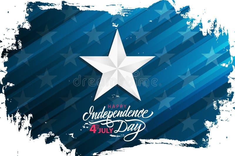 Szczęśliwy dzień niepodległości, 4th Lipiec świętują sztandar z srebro gwiazdą na szczotkarskim uderzenia tle i wręcza literowani ilustracji