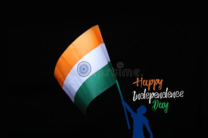 Szczęśliwy dzień niepodległości, Tri colour indianina flaga zdjęcia stock