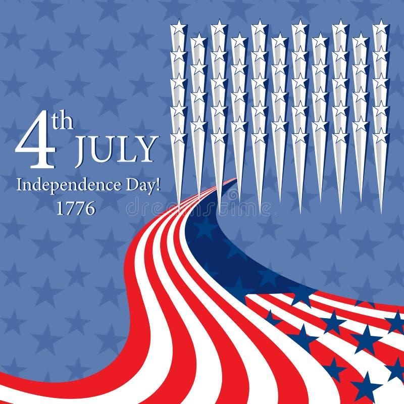 Szczęśliwy dzień niepodległości z gwiazdą i flaga ilustracji