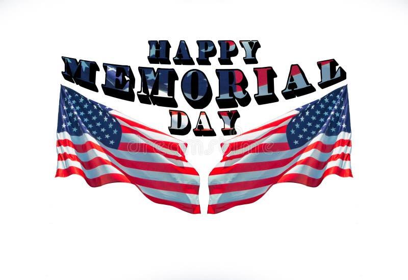 Szczęśliwy dzień pamięci z dwa flagami amerykańskimi obraz stock
