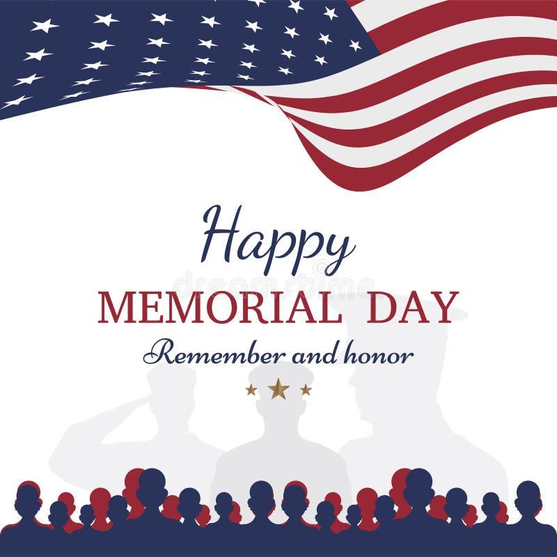 szczęśliwy dzień pomnik Kartka z pozdrowieniami z flaga i żołnierzem na tle Krajowy Amerykański wakacyjny wydarzenie ilustracja wektor