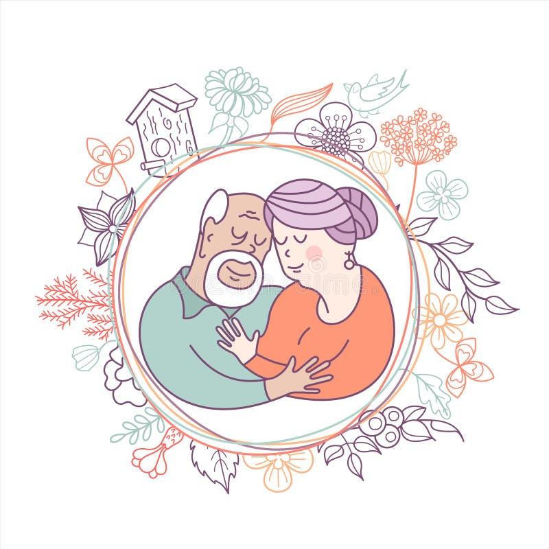 Szczęśliwy dzień stara osoba Śliczna wektorowa ilustracja gre ilustracja wektor