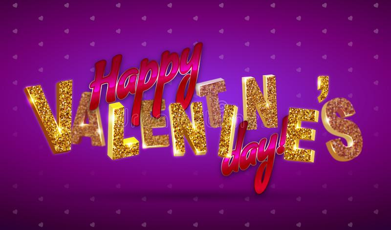 szczęśliwy dzień valentine s 3d tekst z błyska na żywym neonowym tle ilustracji