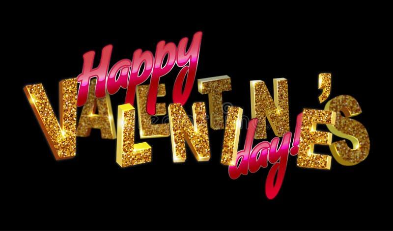 szczęśliwy dzień valentine s 3d tekst z błyska na czarnym tle ilustracja wektor
