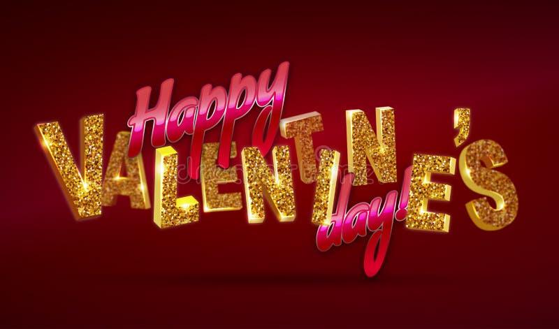 szczęśliwy dzień valentine s 3d tekst z błyska na czerwonym tle royalty ilustracja