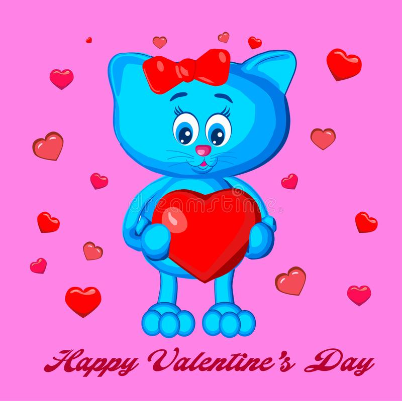 szczęśliwy dzień valentine s figlarka, gratulacje, serce, w rękach, mienie, z wakacje święty valentine royalty ilustracja