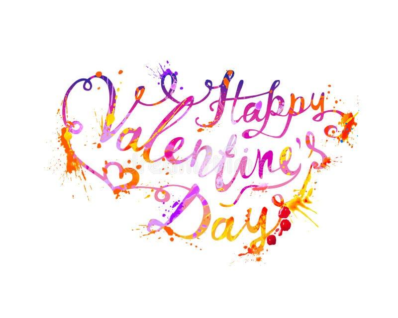 szczęśliwy dzień valentine s Wektorowy literowanie royalty ilustracja