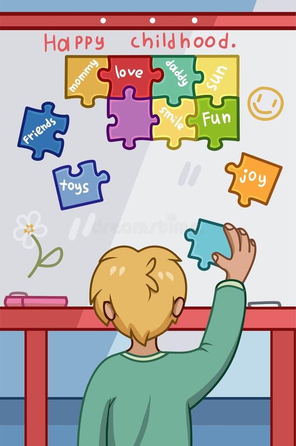 Szczęśliwy dzieciństwa pojęcie z młodą chłopiec umieszcza kolorowych łamigłówka kawałki ilustracji