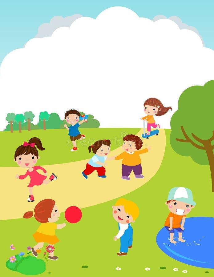 Szczęśliwy dzieci bawić się plenerowy ilustracji