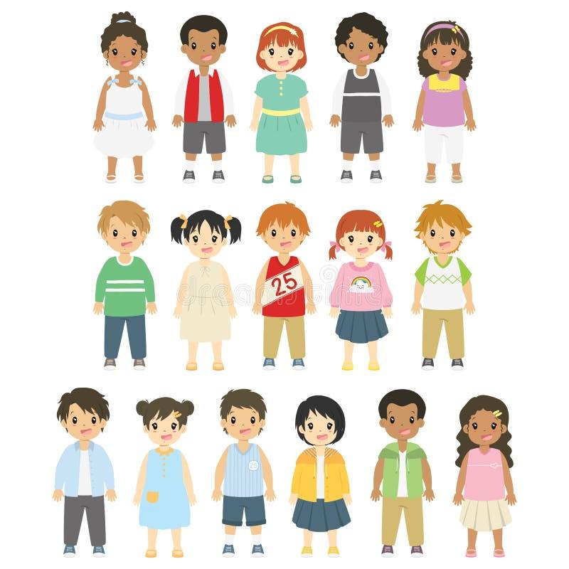 Szczęśliwy dzieci, chłopiec i dziewczyn wektoru set, royalty ilustracja