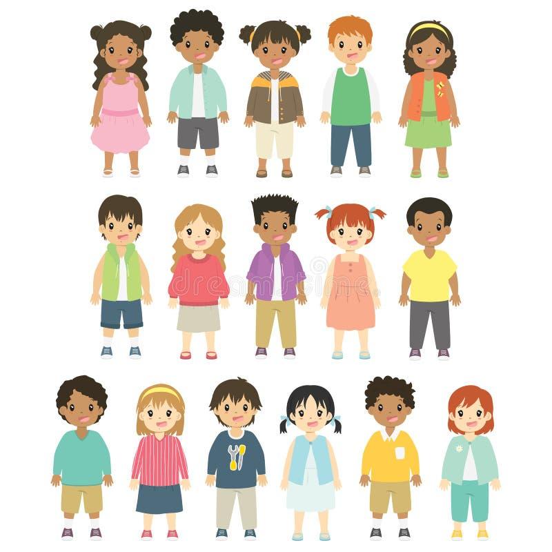 Szczęśliwy dzieci, chłopiec i dziewczyn wektoru set, ilustracji