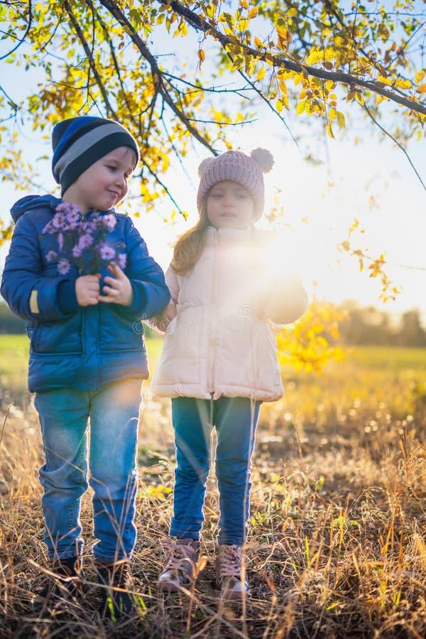Szczęśliwy dzieciaków chodzić plenerowy przy parkowym chwytem ich ręki obrazy stock