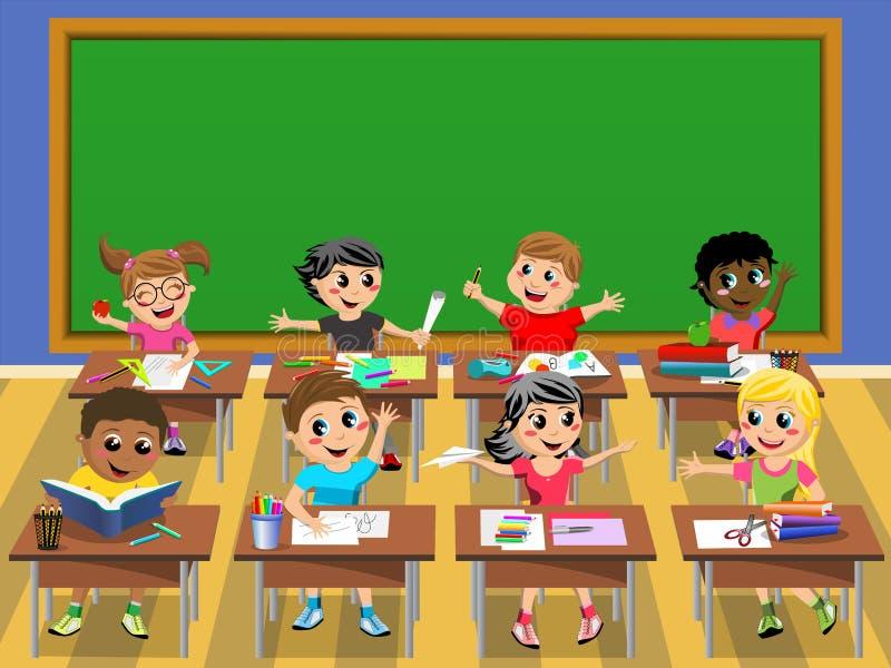 Szczęśliwy dzieciaków dzieci biurka szkoły pustego miejsca blackboard ilustracja wektor