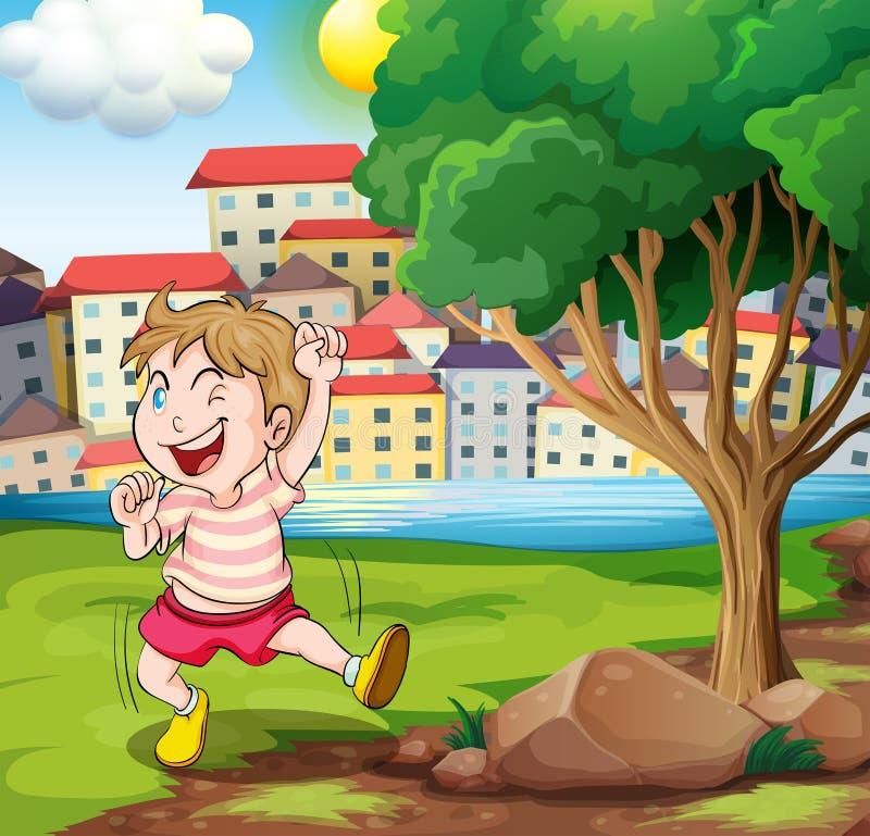 Szczęśliwy dzieciak blisko drzewa przy riverbank obok wysokiej budowy royalty ilustracja