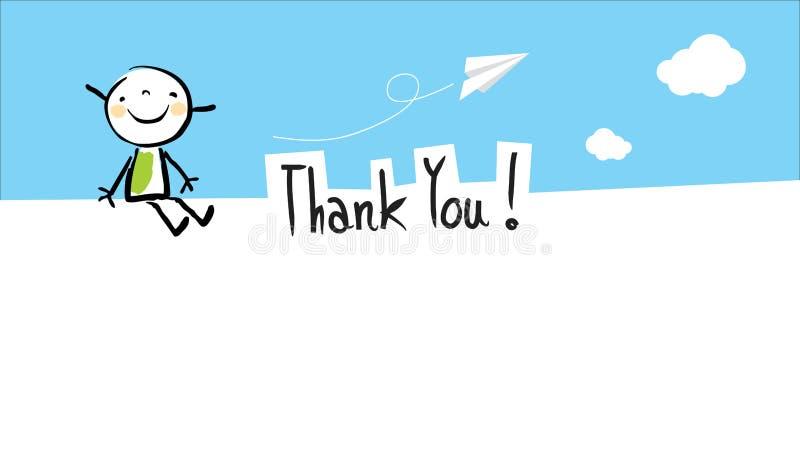 Szczęśliwy dzieciak dziękuje ciebie karcianego royalty ilustracja