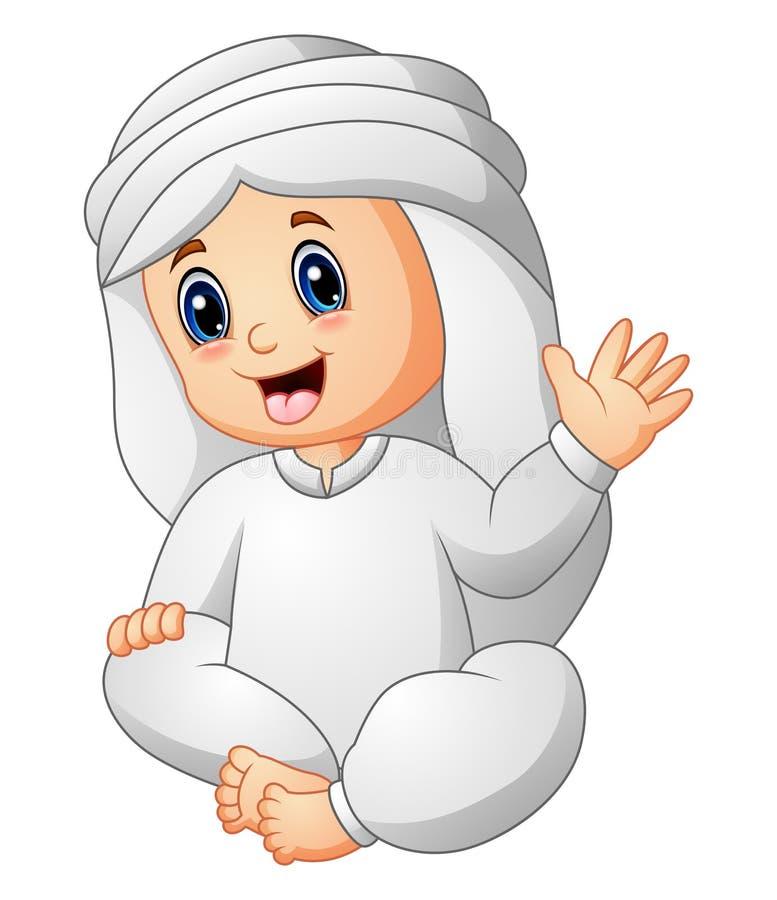 Szczęśliwy dzieciak jest ubranym języka arabskiego falowania odzieżową rękę ilustracja wektor