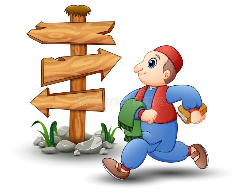 Szczęśliwy dzieciak kreskówki odprowadzenie z pustym drewnianym strzała znakiem ilustracji