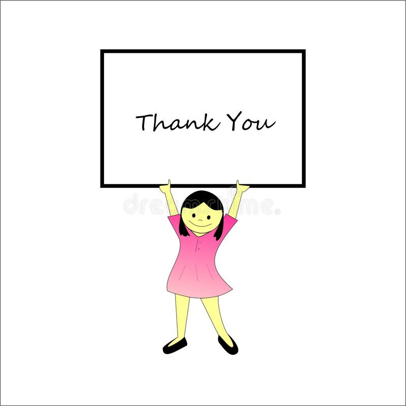 Szczęśliwy dzieciaka mienie Dziękuje ciebie sztandar zdjęcia stock