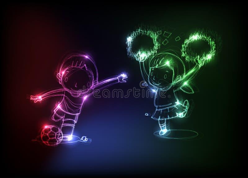 szczęśliwy dziecka neon royalty ilustracja
