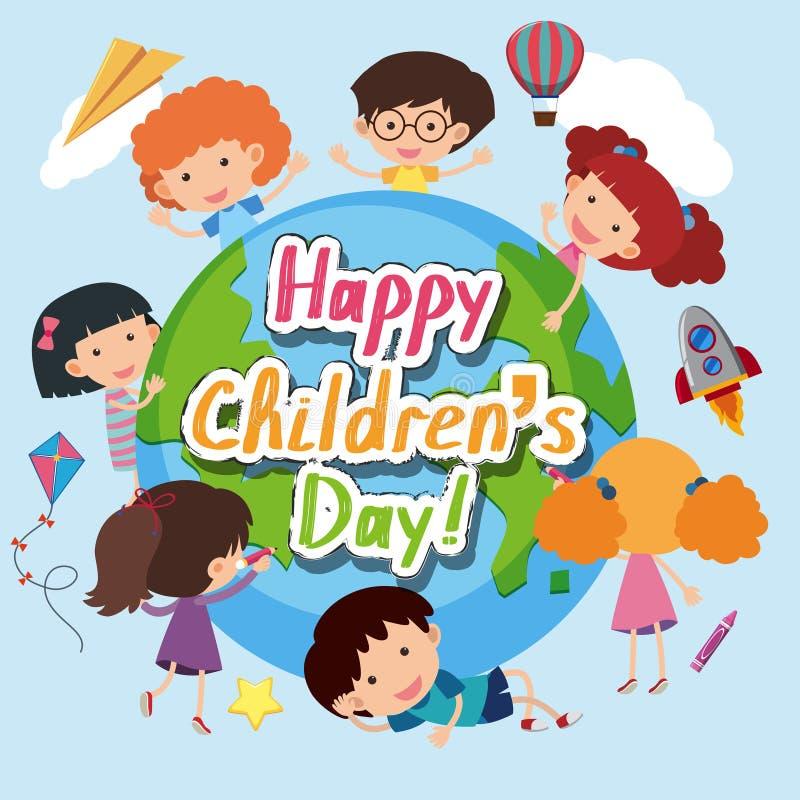 Szczęśliwy dziecka ` s dnia plakat z szczęśliwymi dzieciakami dookoła świata ilustracja wektor