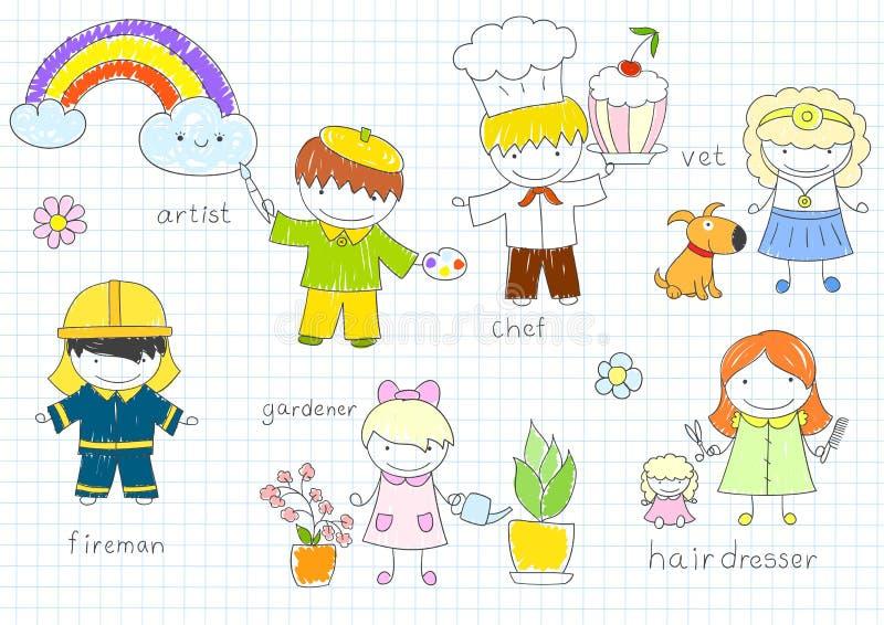 Szczęśliwy dziecka ` s w pracy odzieży royalty ilustracja