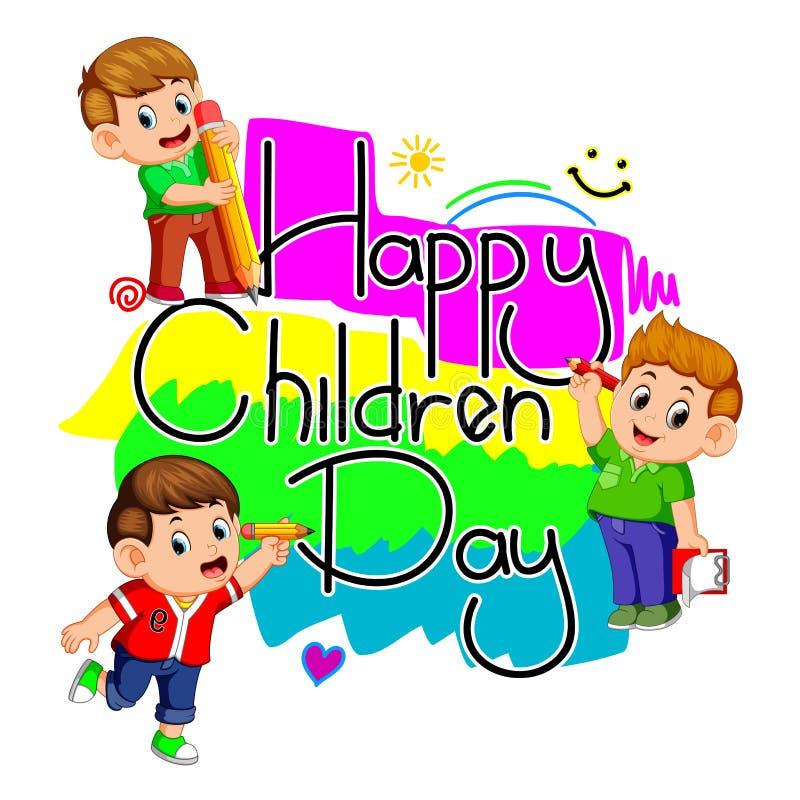 Szczęśliwy dziecko dzień z dzieciakami trzyma ołówek royalty ilustracja