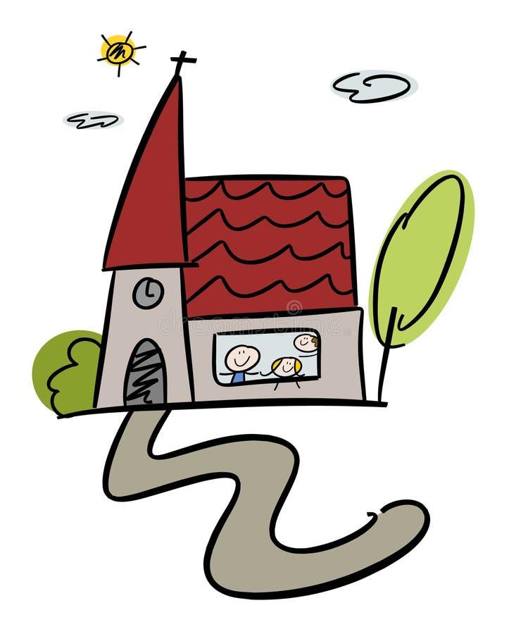szczęśliwy dziecko kościół royalty ilustracja