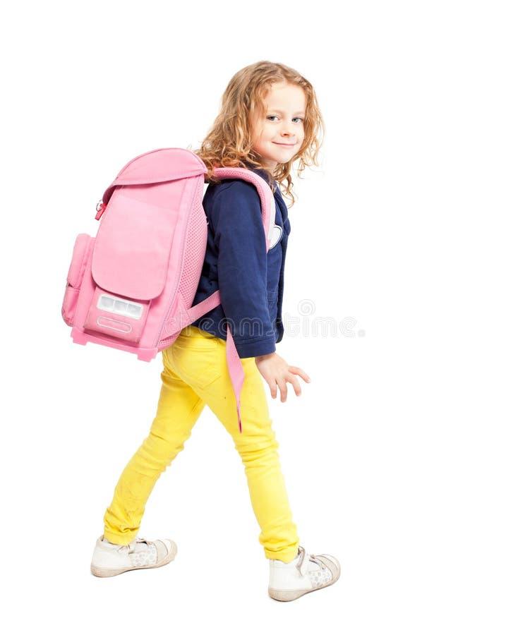 Szczęśliwy dziecko z schoolbag zdjęcie royalty free