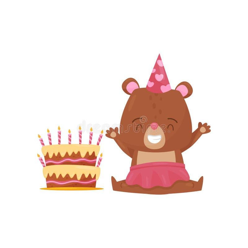 Szczęśliwy dziewczyna niedźwiedź siedzi na podłogowym pobliskim dużym Urodzinowym torcie Zhumanizowany zwierzę i wakacje deser Pł royalty ilustracja