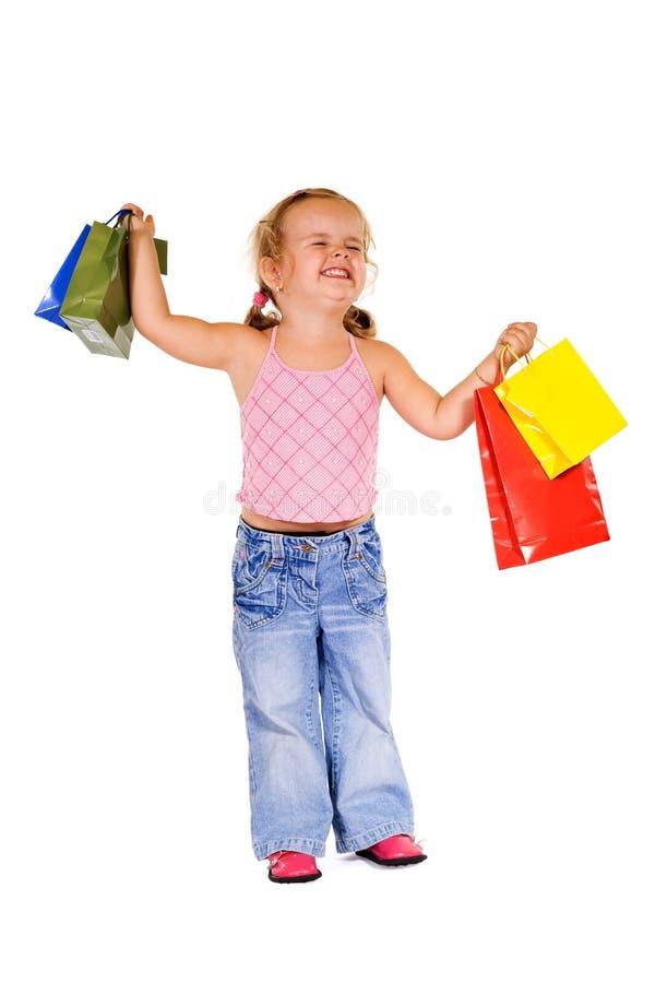 szczęśliwy dziewczyna niezwykle kupujący fotografia stock