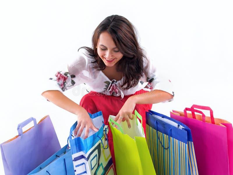szczęśliwy dziewczyna zakupy zdjęcie royalty free