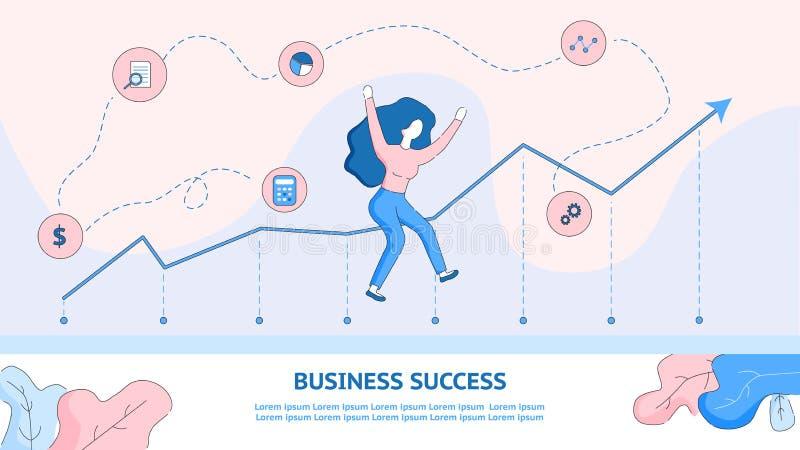 Szczęśliwy dziewczyny doskakiwanie od Dokonywać Biznesowego sukces royalty ilustracja