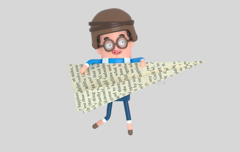 Szczęśliwy dziewczyny miotania papieru samolot 3d illustrationYoung chłopiec bawić się z dużym papieru samolotem ilustracji