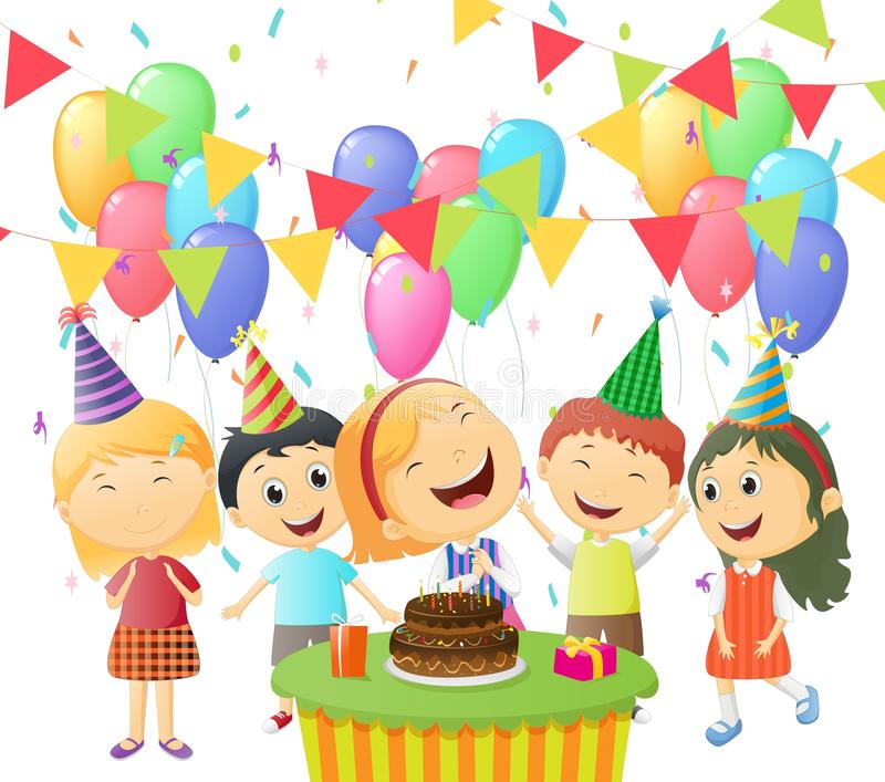 Szczęśliwy dziewczyny odświętności urodziny z jej przyjaciółmi royalty ilustracja