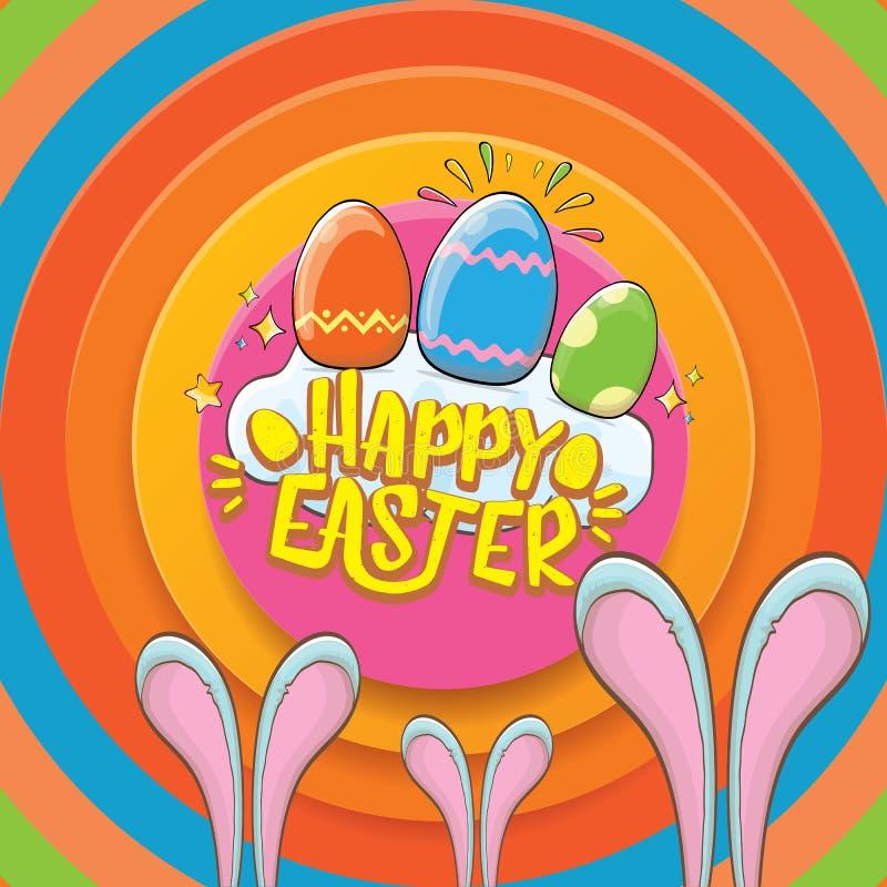 Szczęśliwy Easter kartka z pozdrowieniami z królikiem, kaligraficznym tekstem, chmurami, tęczą i koloru Easter jajkami, wektorowi ilustracja wektor