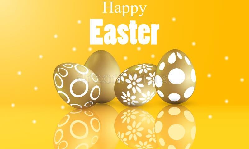 Szczęśliwy Easter pojęcie z malującymi złotymi wzorzystymi jajkami ilustracja wektor
