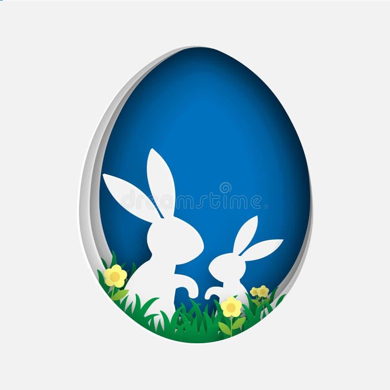 Szczęśliwy Easter w papieru cięcia stylu z dwa królikiem w kształcie jajko ilustracja wektor