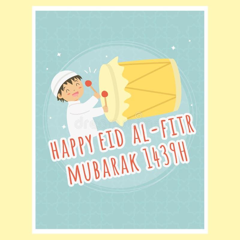 Szczęśliwy Eid al-Fitr kartka z pozdrowieniami, chłopiec Uderza Bedug wektor royalty ilustracja