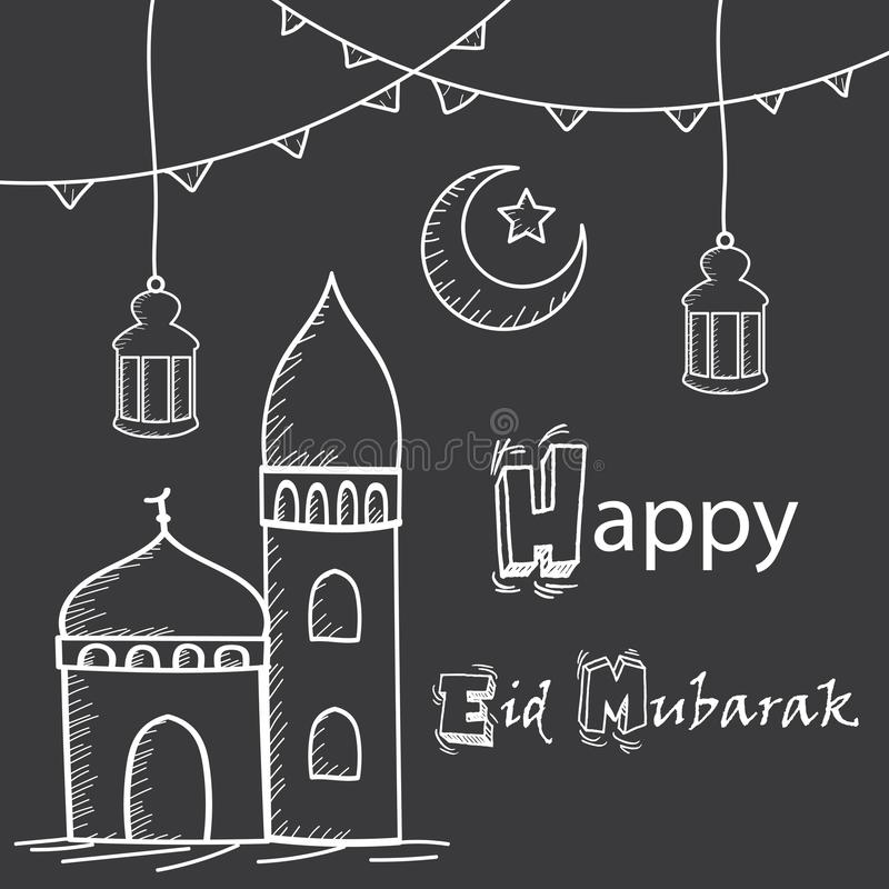Szczęśliwy Eid Mubarak powitanie, ręka rysunku styl z meczetem, lampiony i półksiężyc księżyc, ilustracja wektor