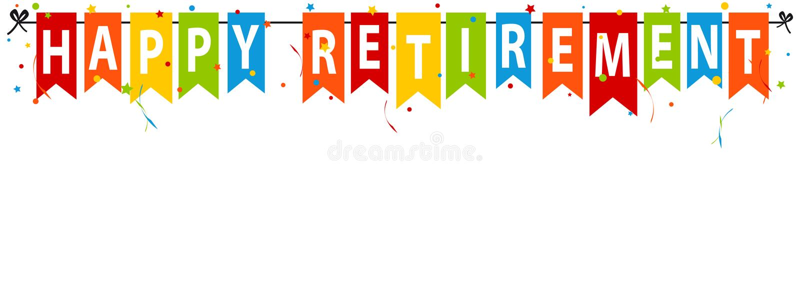 Szczęśliwy emerytura sztandar Odizolowywający Na bielu - Wektorowa ilustracja - ilustracja wektor