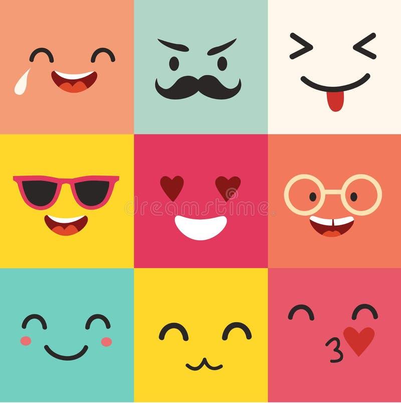 Szczęśliwy emoticons wektoru wzór Pozytywny Moji set royalty ilustracja