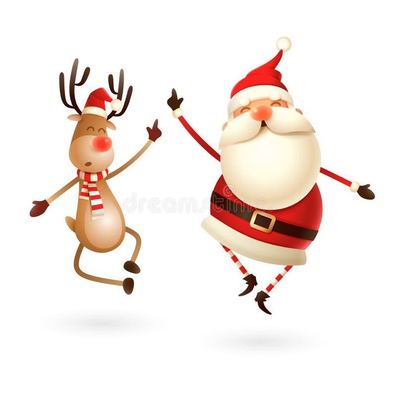 Szczęśliwy expresion Święty Mikołaj i renifer - skacze prosto w górę i przynoszą ich pięty klascze wpólnie dobrze ilustracji