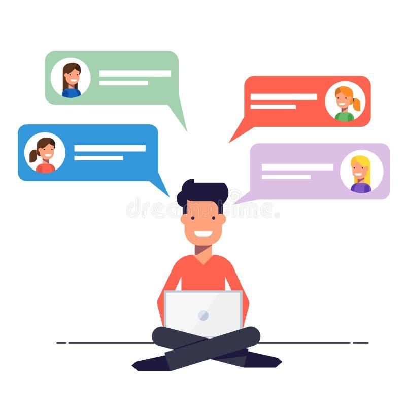 Szczęśliwy facet overwritten z dziewczynami na datowanie miejscu Komunikacja przez gadki lub email na internecie mężczyzna siedzi ilustracja wektor